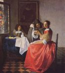 [Painting of Girl with a Wine Glass by Vermeer]